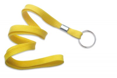 "Yellow 3/8"" (10 mm) Lanyard w/ Nickel-Plated Steel Split Ring (100/Pkg)"