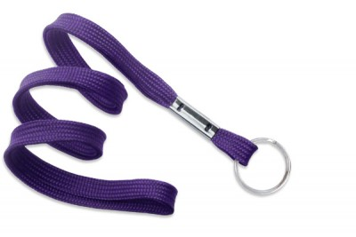 "Purple 3/8"" (10 mm) Lanyard w/ Nickel-Plated Steel Split Ring (100/Pkg)"
