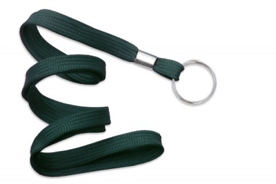 "Forest Green 3/8"" (10 mm) Lanyard w/ Nickel-Plated Steel Split Ring (100/Pkg)"