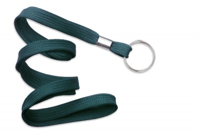 "Teal 3/8"" (10 mm) Lanyard w/ Nickel-Plated Steel Split Ring (100/Pkg)"