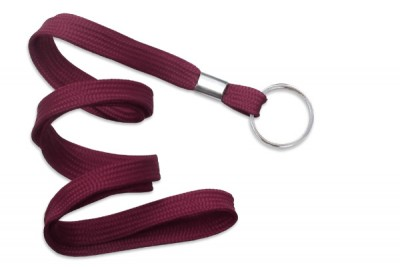 "Maroon 3/8"" (10 mm) Lanyard w/ Nickel-Plated Steel Split Ring (100/Pkg)"