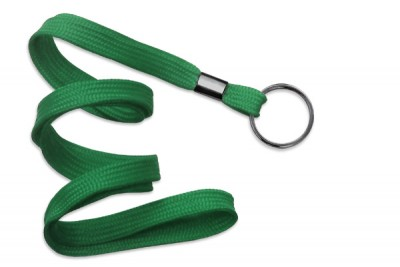 "Green 3/8"" (10 mm) Lanyard w/ Black-Oxide Split Ring (1000/Pkg)"