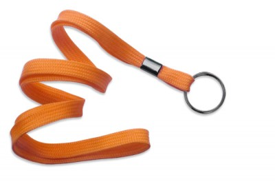 "Orange 3/8"" (10 mm) Lanyard w/ Black-Oxide Split Ring (1000/Pkg)"