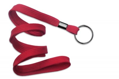 "Red 3/8"" (10 mm) Lanyard w/ Black-Oxide Split Ring (1000/Pkg)"