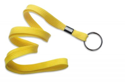 "Yellow 3/8"" (10 mm) Lanyard w/ Black-Oxide Split Ring (1000/Pkg)"