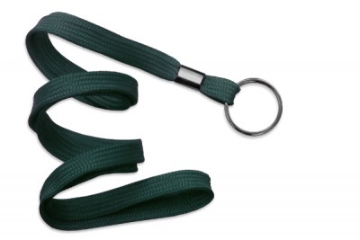 "Forest Green 3/8"" (10 mm) Lanyard w/ Black-Oxide Split Ring (1000/Pkg)"