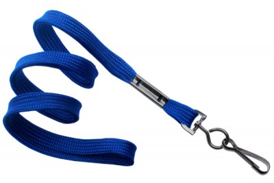 "Royal Blue 3/8"" (10 mm) Lanyard w/ Black-Oxide Swivel Hook (1000/Pkg)"