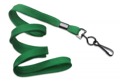 "Green 3/8"" (10 mm) Lanyard w/ Black-Oxide Swivel Hook (1000/Pkg)"
