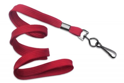 "Red 3/8"" (10 mm) Lanyard w/ Black-Oxide Swivel Hook (1000/Pkg)"