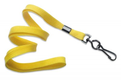 "Yellow 3/8"" (10 mm) Lanyard w/ Black-Oxide Swivel Hook (1000/Pkg)"