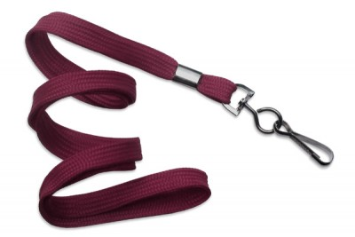 "Maroon 3/8"" (10 mm) Lanyard w/ Black-Oxide Swivel Hook (1000/Pkg)"