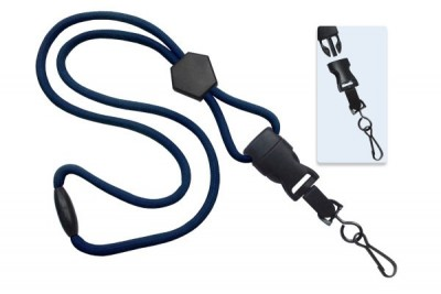 "Navy Blue 1/4"" (6 mm) Lanyard w/ Diamond Slider & DTACH Swivel Hook (100/Pkg)"