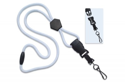 "White 1/4"" (6 mm) Lanyard w/ Diamond Slider & DTACH Swivel Hook (1000/Pkg)"