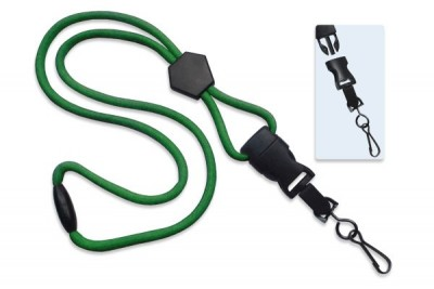 "Green 1/4"" (6 mm) Lanyard w/ Diamond Slider & DTACH Swivel Hook (1000/Pkg)"