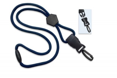 "Navy Blue 1/4"" (6 mm) Lanyard w/ Diamond Slider & DTACH Plastic Swivel Hook (100/Pkg)"