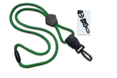 "Green 1/4"" (6 mm) Lanyard w/ Diamond Slider & DTACH Plastic Swivel Hook (1000/Pkg)"