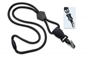 "Black 1/4"" (6 mm) Lanyard w/ Diamond Slider & DTACH Bulldog Clip (100/Pkg)"