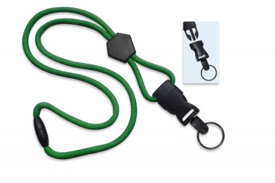 "Green 1/4"" (6 mm) Lanyard w/ Diamond Slider & DTACH Split Ring (1000/Pkg)"