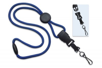 "Royal Blue 1/4"" (6 mm) Lanyard w/ Round Slider & DTACH Swivel Hook (100/Pkg)"