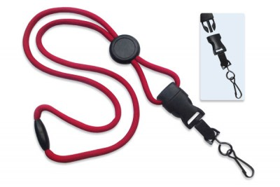 "Red 1/4"" (6 mm) Lanyard w/ Round Slider & DTACH Swivel Hook (100/Pkg)"