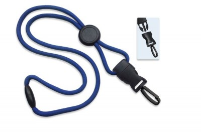 "Royal Blue 1/4"" (6 mm) Lanyard w/ Round Slider & DTACH Plastic Swivel Hook (100/Pkg)"