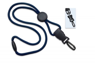 "Navy Blue 1/4"" (6 mm) Lanyard w/ Round Slider & DTACH Plastic Swivel Hook (100/Pkg)"