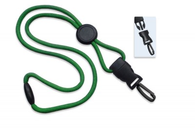 "Green 1/4"" (6 mm) Lanyard w/ Round Slider & DTACH Plastic Swivel Hook (1000/Pkg)"