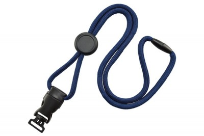 "Navy Blue 1/4"" (6mm) Round Lanyard w/ Round Slider, New DTACH Combo Loop (1000/Pkg)"