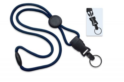 "Navy Blue 1/4"" (6 mm)Lanyard w/ Round Slider & DTACH Split Ring (100/Pkg)"