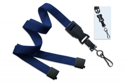 "Navy Blue 5/8"" (16 mm) Lanyard w/ Breakaway & DTACH Swivel Hook (100/Pkg)"