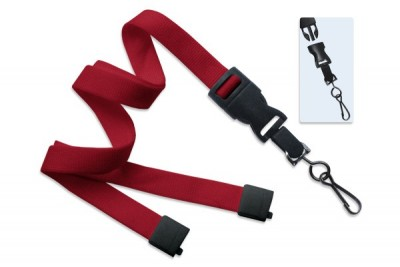 "Red 5/8"" (16 mm) Lanyard w/ Breakaway & DTACH Swivel Hook (100/Pkg)"