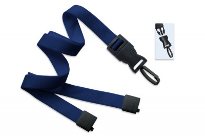"Navy Blue 5/8"" (16 mm) Lanyard w/ Breakaway & DTACH Plastic Swivel Hook (100/Pkg)"