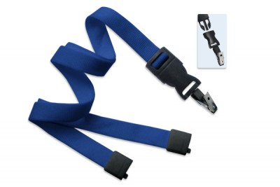 "Royal Blue 5/8"" (16 mm) Lanyard w/ Breakaway & DTACH Bulldog Clip (100/Pkg)"