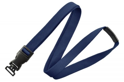 "Navy Blue 5/8"" (16mm) Optiweave Lanyard w/ DTACH Combo Loop (1000/Pkg)"