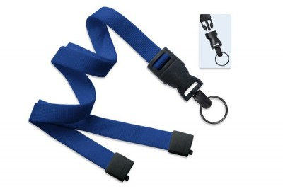 "Royal Blue 5/8"" (16 mm) Lanyard w/ Breakaway & DTACH Split Ring (100/Pkg)"