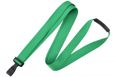 "Green 5/8"" (16 mm) Lanyard w/ Breakaway & ""No-Twist"" Wide Plastic Hook (100/Pkg)"