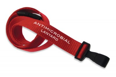 "Red 5/8"" (16 mm) Lanyard w/ Breakaway & ""No-Twist"" Wide Plastic Hook (100/Pkg)"
