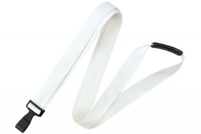 "White 5/8"" (16 mm) Lanyard w/ Breakaway & ""No-Twist"" Wide Plastic Hook (100/Pkg)"