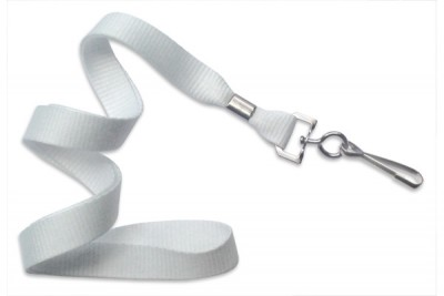 "White 5/8"" (16 mm) Lanyard w/ Nickel-Plated Steel Swivel Hook (100/Pkg)"