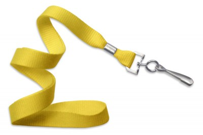"Yellow 5/8"" (16 mm) Lanyard w/ Nickel-Plated Steel Swivel Hook (100/Pkg)"