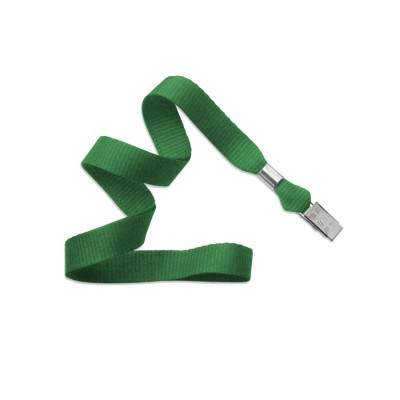 "Green 5/8"" (16 mm) Lanyard w/ Nickel-Plated Steel Bulldog Clip (100/Pkg)"