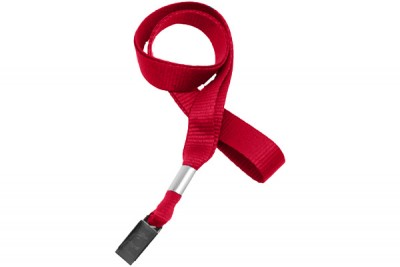 "Red 5/8"" (16 mm) Lanyard w/ Nickel-Plated Steel Bulldog Clip (100/Pkg)"