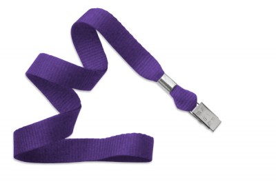 "Purple 5/8"" (16 mm) Lanyard w/ Nickel-Plated Steel Bulldog Clip (100/Pkg)"
