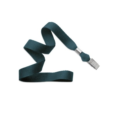 "Teal 5/8"" (16 mm) Lanyard w/ Nickel-Plated Steel Bulldog Clip (100/Pkg)"