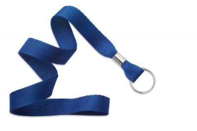 "Royal Blue 5/8"" (16 mm) Lanyard w/ Nickel-Plated Steel Split Ring (100/Pkg)"