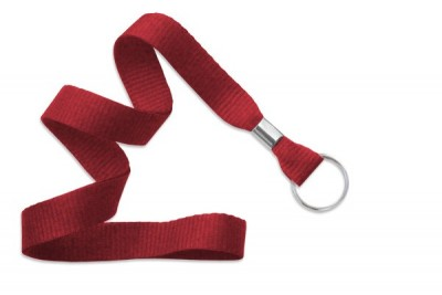 "Red 5/8"" (16 mm) Lanyard w/ Nickel-Plated Steel Split Ring (100/Pkg)"
