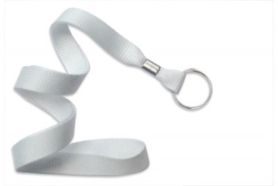 "White 5/8"" (16 mm) Lanyard w/ Nickel-Plated Steel Split Ring (100/Pkg)"