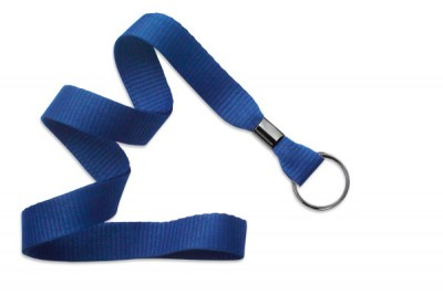 "Royal Blue 5/8"" (16 mm) Lanyard w/ Black-Oxide Split Ring (1000/Pkg)"