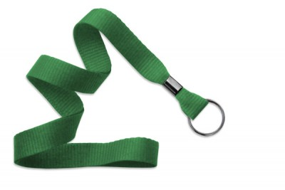 "Green 5/8"" (16 mm) Lanyard w/ Black-Oxide Split Ring (1000/Pkg)"