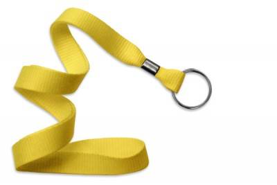"Yellow 5/8"" (16 mm) Lanyard w/ Black-Oxide Split Ring (1000/Pkg)"